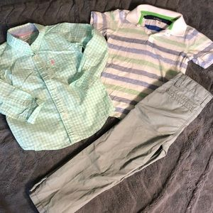 Boys pastel dress tops & grey pants
